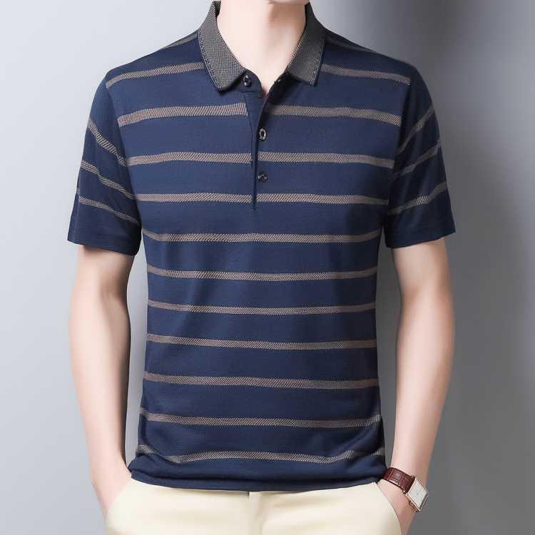 中老年爸爸装夏季薄款男式t恤撞色条纹翻领男士Polo衫男士短袖t恤