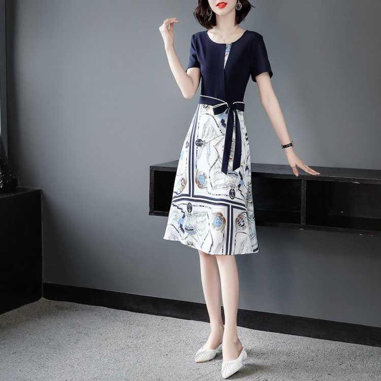 【2021年夏季新品】女款连衣裙圆领拼接收腰系带显瘦撞色裙子