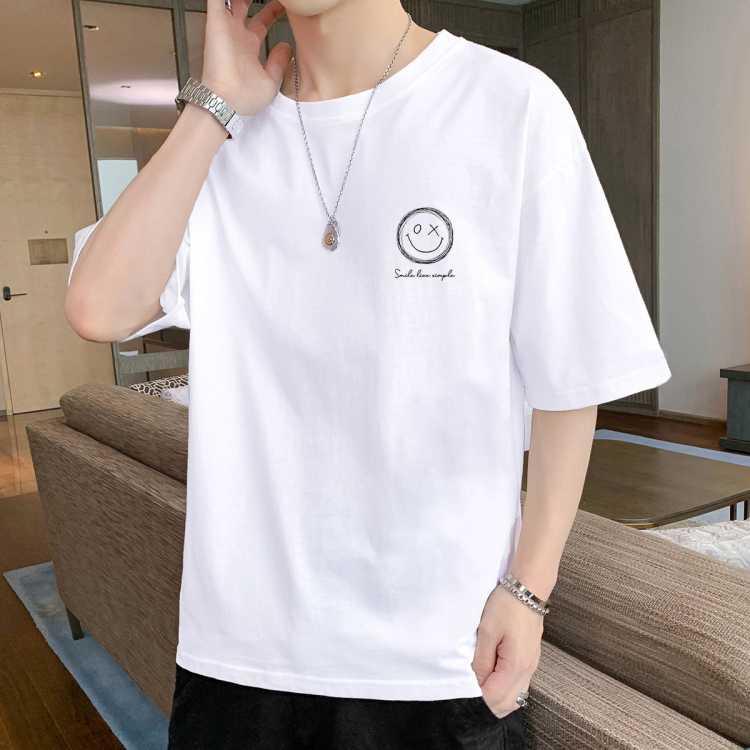 夏季短袖T恤男潮牌ins纯棉透气休闲宽松简约男士打底衫