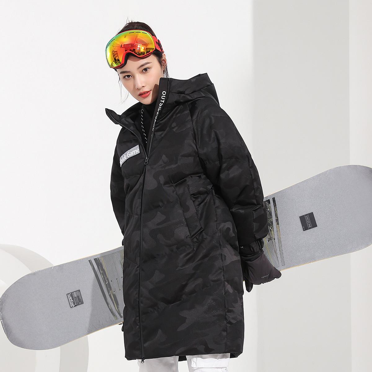 女款中长款户外运动风连帽加厚迷彩羽绒服外套