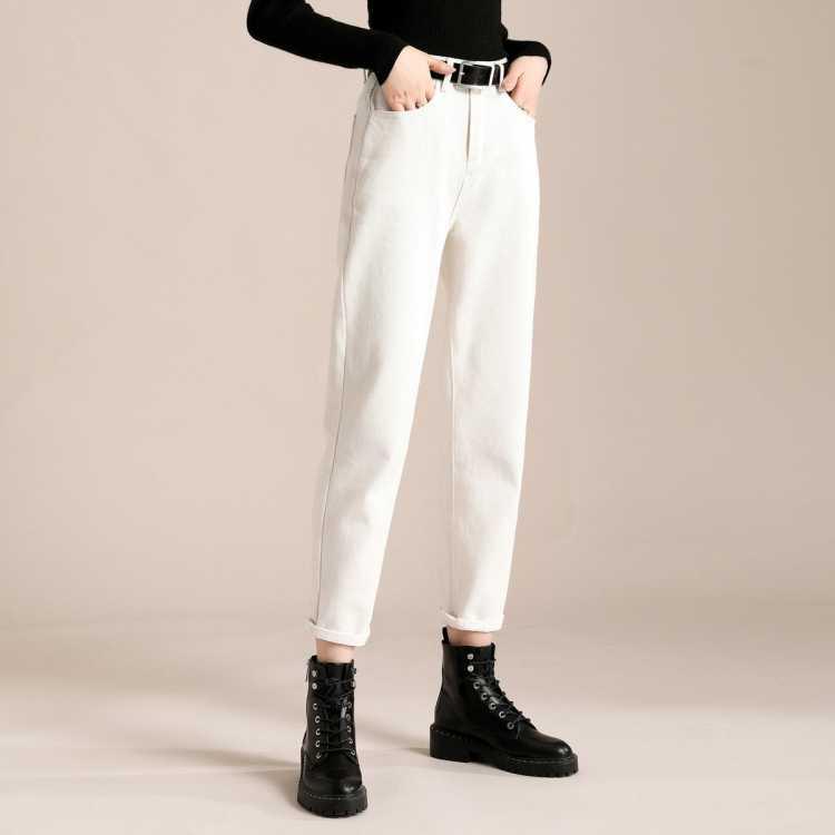 春季宽松显瘦萝卜牛仔裤女哈伦高腰白色牛仔裤女老爹裤