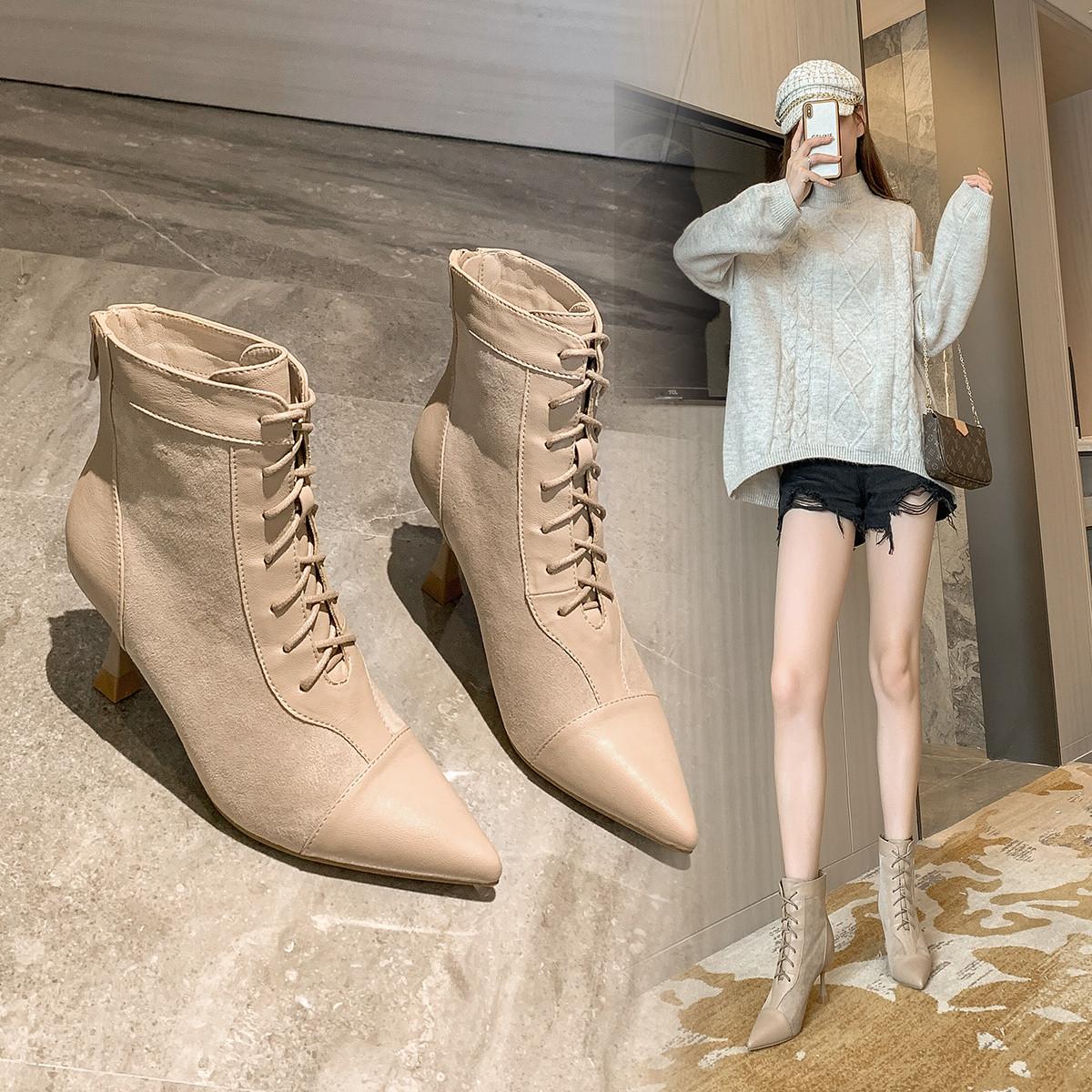 欧洲站法式性感高跟短靴2020秋冬新款尖头加绒保暖时装短筒女靴子