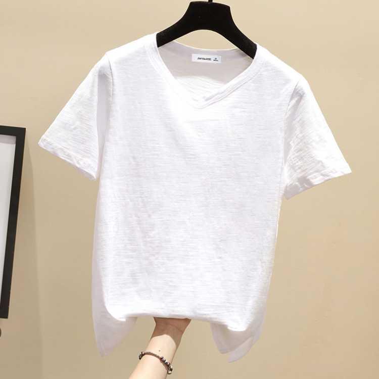 【100%棉】夏新款女装短袖T恤纯色休闲舒适女式短袖圆领上衣