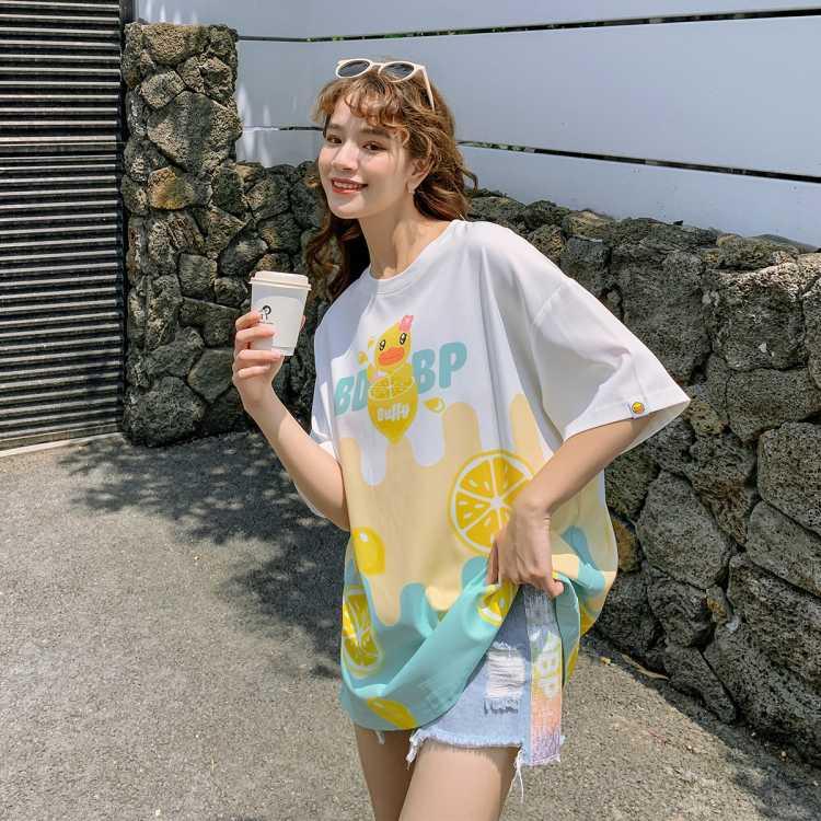 小黄鸭女式T恤2021夏宽松大码甜美冰丝印花透气短袖T恤女