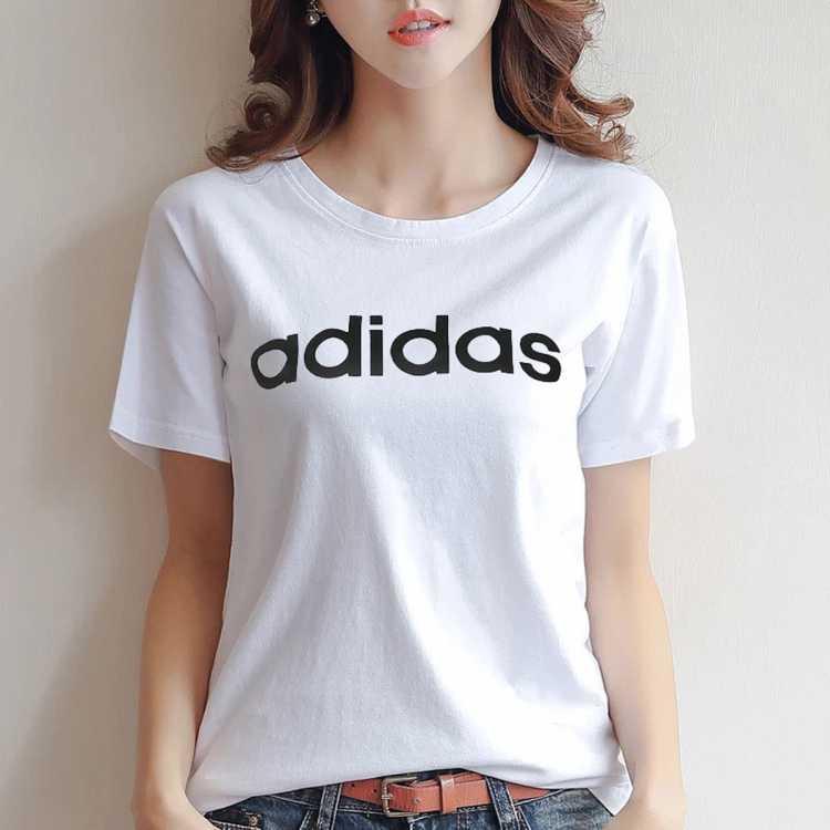 大logo 女款针织T恤休闲运动圆领短袖训练服女装