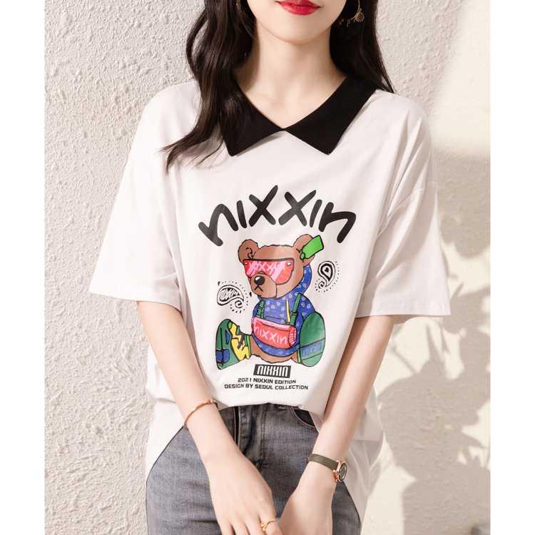 【新品推荐】夏季女装拼色娃娃领休闲卡通字母印花短袖t恤薄上衣