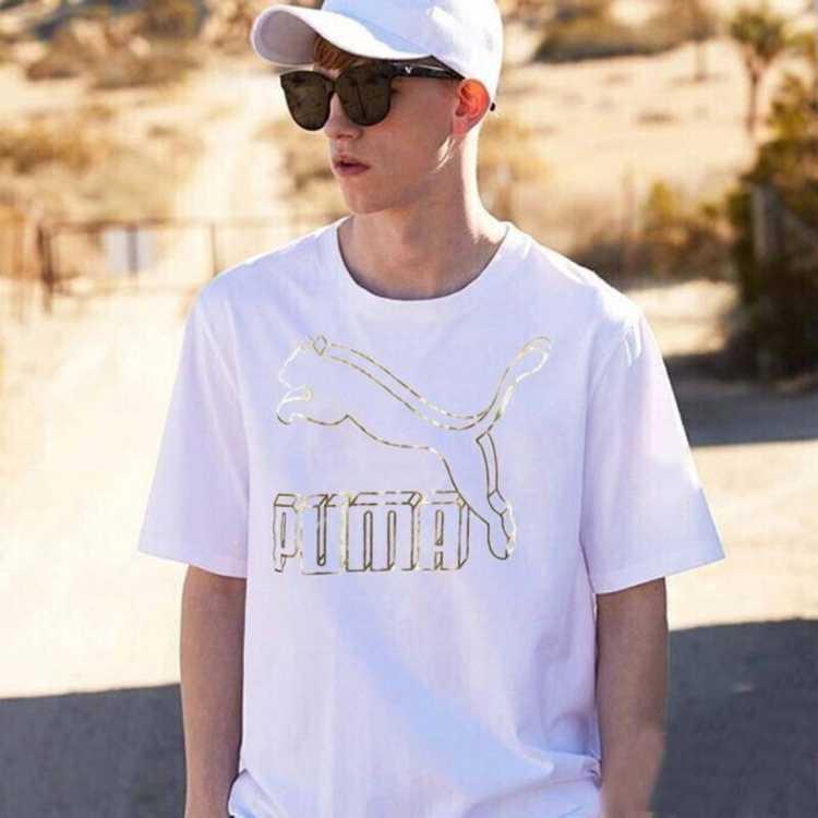 大logo男款休闲短袖时尚白色T恤