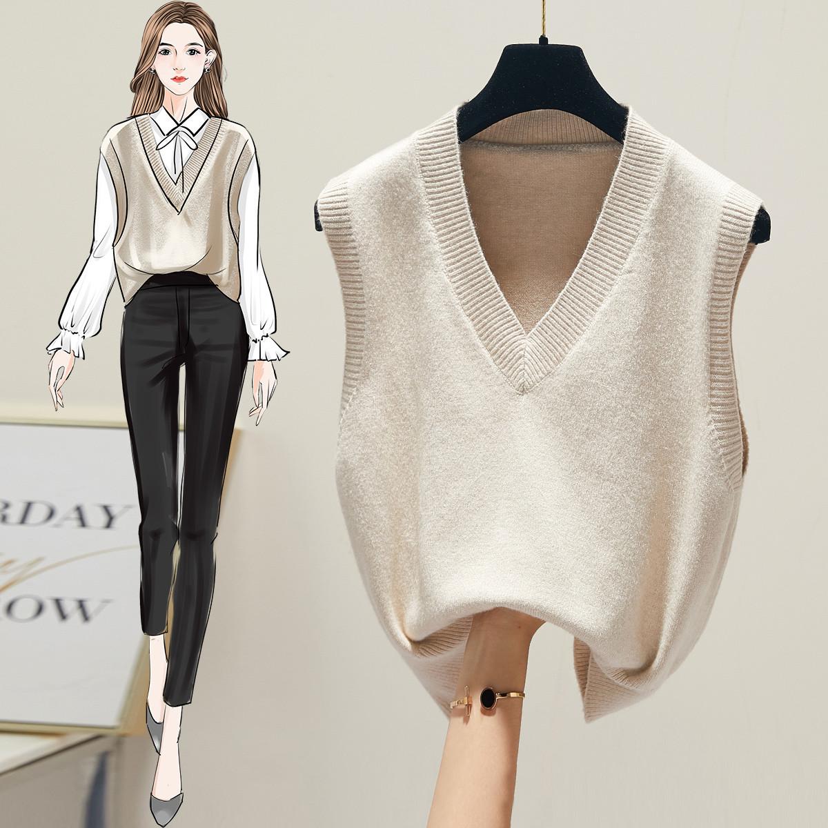 V领针织马甲女背心冬季新款韩版女装宽松外搭套头毛衣上衣