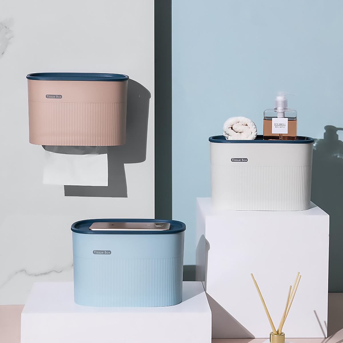 日本爱家屋免打孔卫生间抽纸盒家用厕所浴室防水置物架纸巾盒