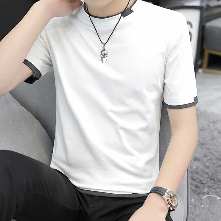 夏季新款男士短袖T恤韩版时尚圆领纯色简约舒适百搭拼接短袖T恤