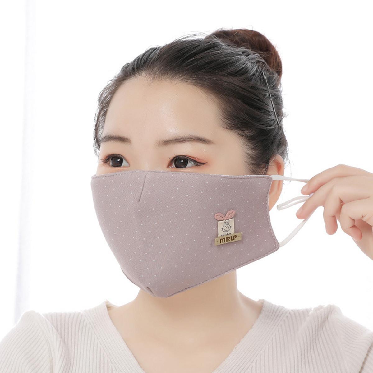 4个装可水洗韩版甜美贴花棉布防尘霾口罩小清新波点立体防护口罩