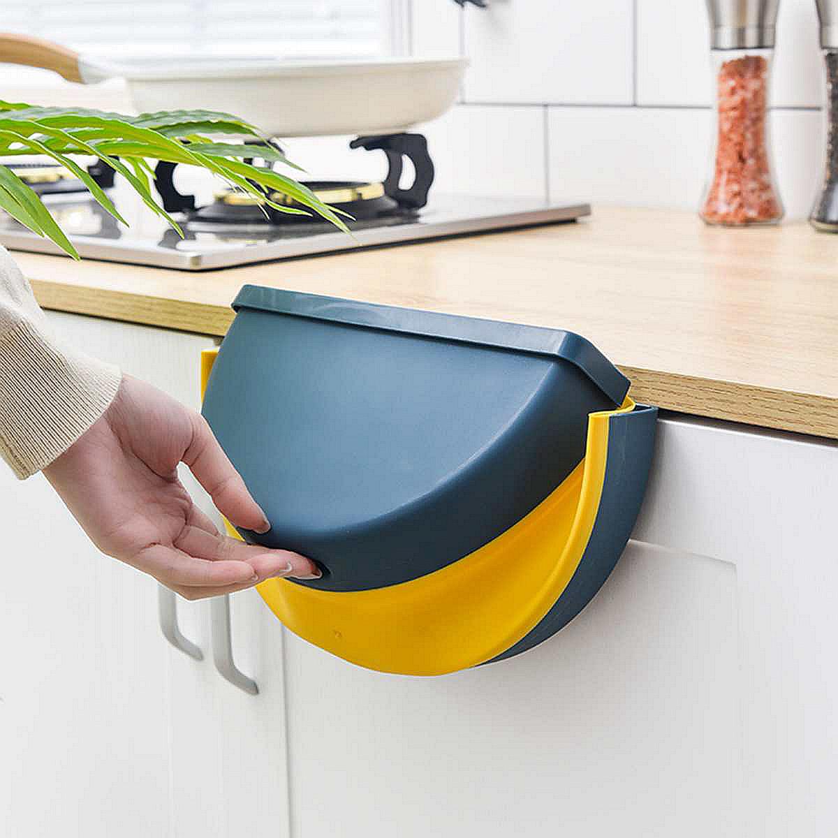 创意橱柜悬挂粘贴式垃圾篓壁挂纸篓家用带压圈车载厨房折叠垃圾桶