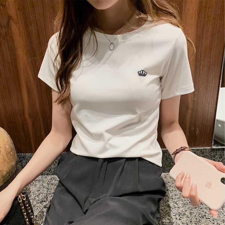 【弹力舒适】皇冠百搭短袖T恤 2021夏季新款时尚女式T恤