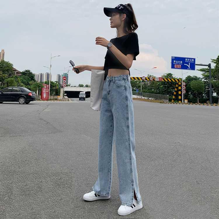 【宽松开叉阔腿裤】拉夏贝尔旗下2021春季新款时尚女式牛仔裤