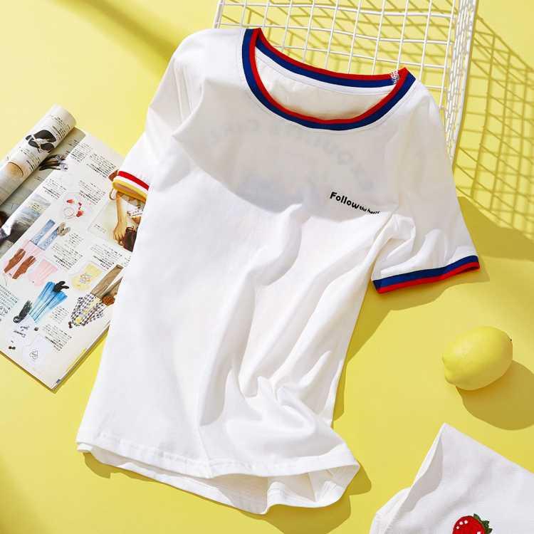 拉夏贝尔旗下女款字母刺绣印花短袖T恤韩版修身显瘦撞色圆领上衣