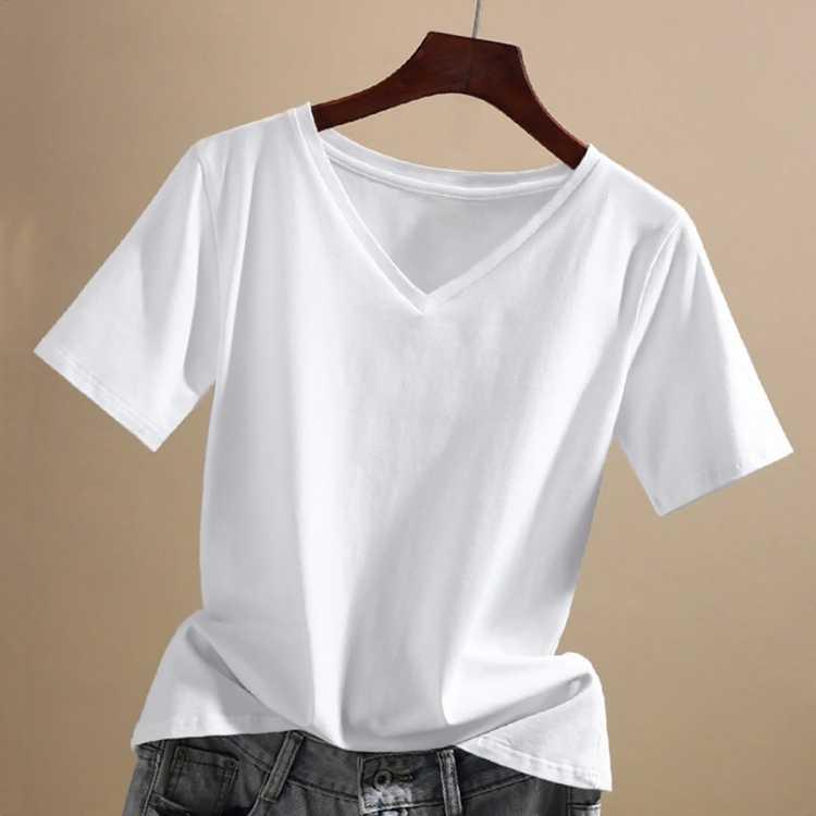 拉夏贝尔旗下纯棉短袖T恤女夏季基础休闲宽松上衣V领韩版百搭