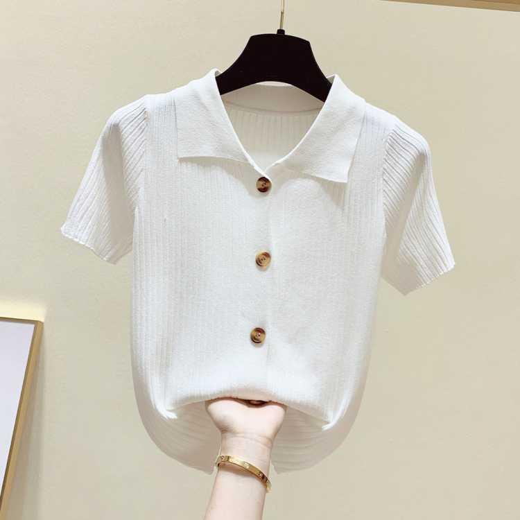 港味复古Polo领针织衫女拉夏贝尔旗下2021夏季新款短袖衫