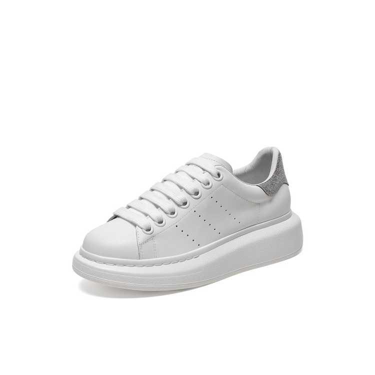 【流金岁月同款】春夏商场同款麦昆厚底增高小白鞋牛皮革女休闲鞋